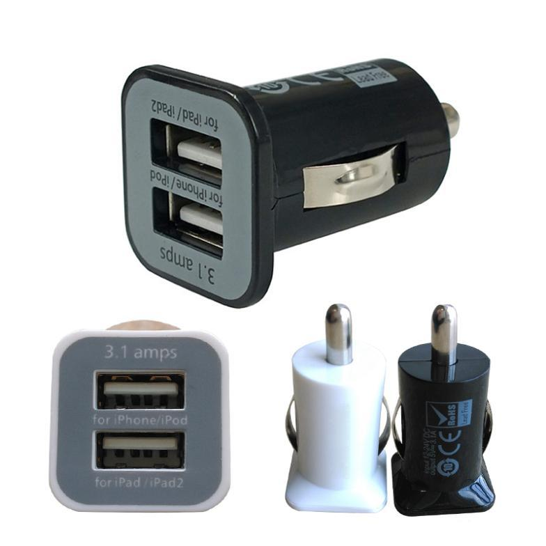 Tow Color Micro Auto Universal Dual 2 Port USB Car Charger For iPhone iPad iPod 3.1A Mini Car Charger Adapter / Cigar Socket(China (Mainland))