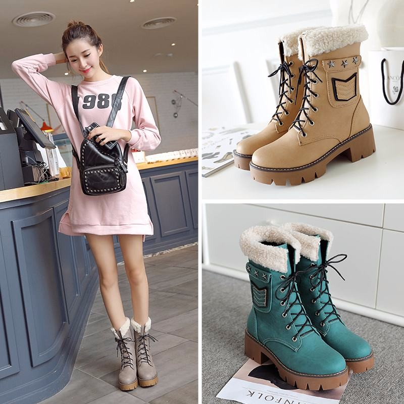 Large Size 34-43 Casual Shoes Woman Thick Heels Lace Up Boots For Women Fur Female Footwear Add Fur Fall Winter Boots