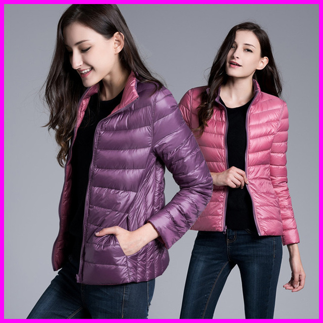 Winter Женщиныs Two Side Белый Duck Down Jacket Warm Winter Coats Parkas Lightweight ...