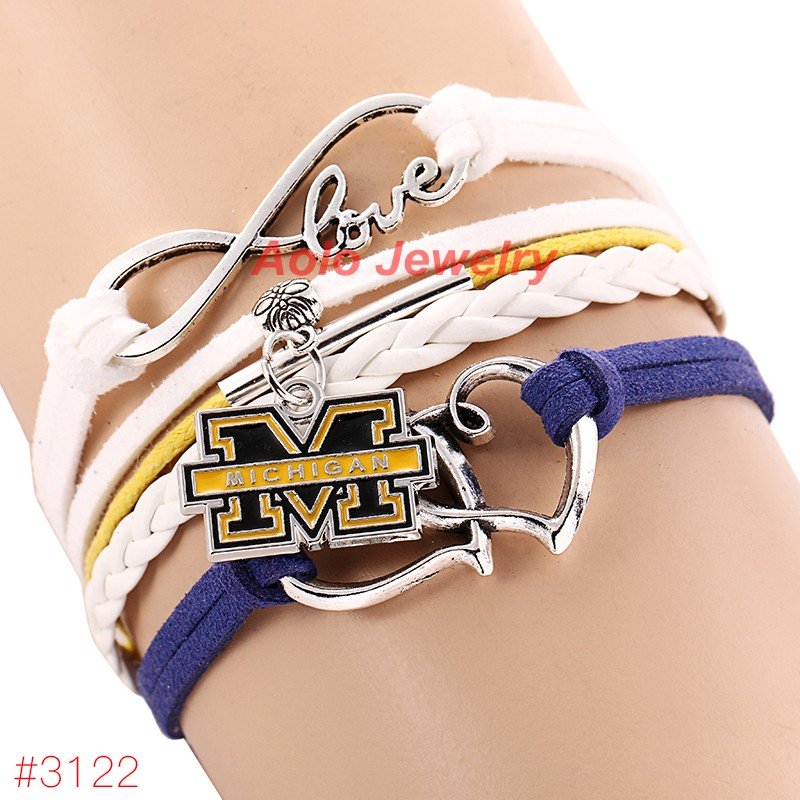 Infinity Love Michigan Wolverines College Football Bracelet 2016 New Leather Bracelet Fans Jewelry 6Pcs/Lot ! Free Shipping!(China (Mainland))