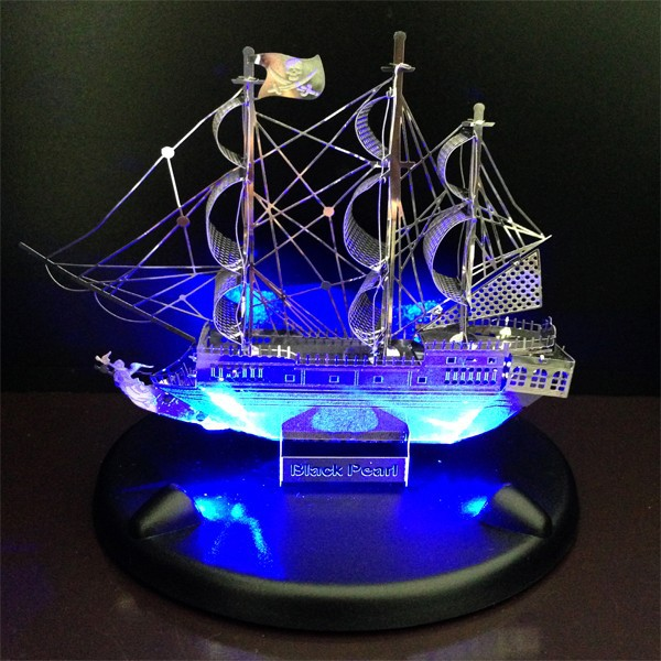 3D Metal Puzzle 3D Works model DIY puzzle toys+ LED lighting Base Black Pear ship best Gift  Love puzzle(China (Mainland))