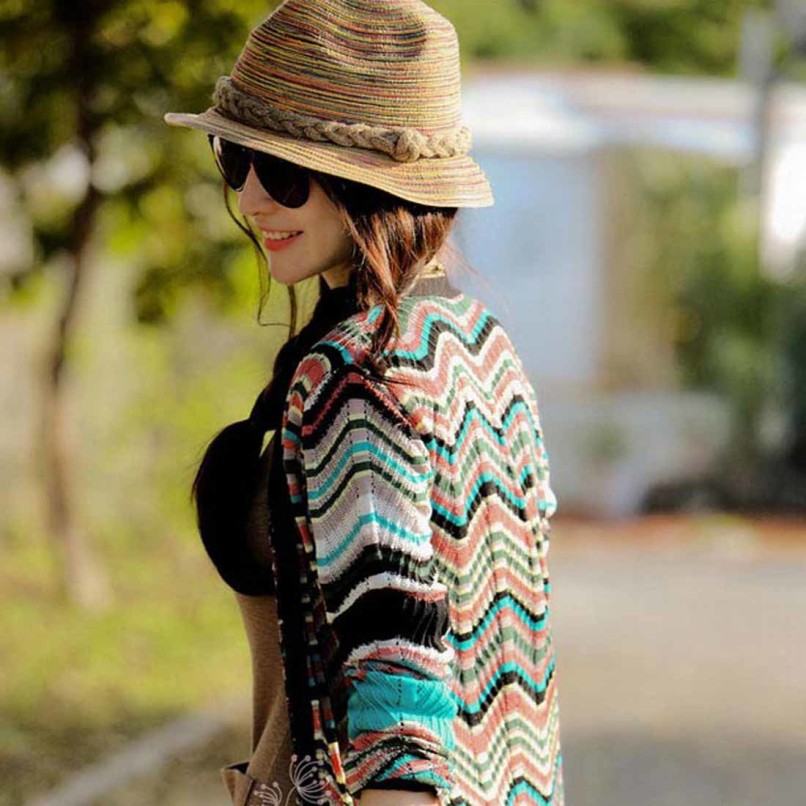 Attractive Summer Autumn Fashion Womens Straw Hat Color Striped Beach Sun Hat Foldable Hat JE24(China (Mainland))