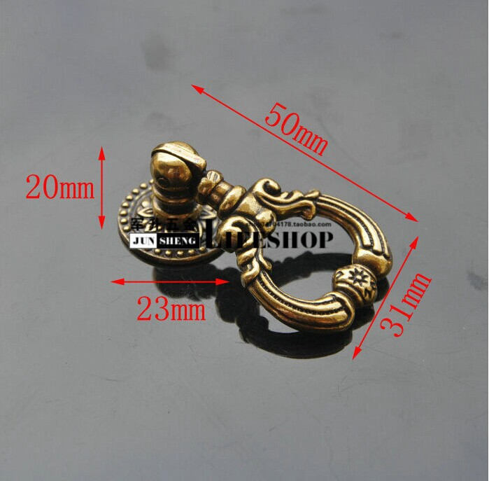 Furniture accessories Furniture handles Vintage Cabinet knobs and handles Puxadores Drawer pull Knobs Copper 5*3.1CM 5pcs/lot(China (Mainland))