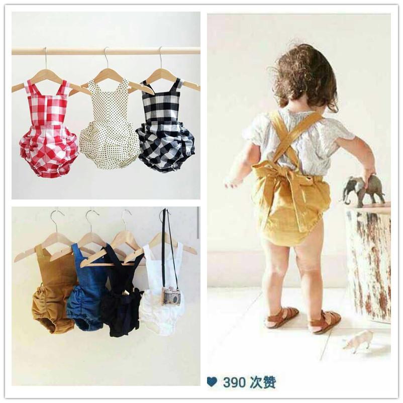 New 2015 summer hot sale ! boys and girls baby Plaid  cotton straps pants jumpsuit kids 6pcs /lot <br><br>Aliexpress