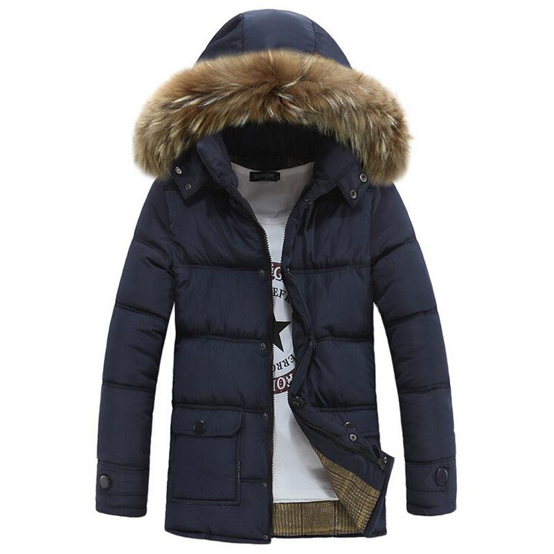 Winter Jacket Men Coats Thick Warm Casual Fur Collar Down Coat Winter Windproof Hooded Outwear Men Outdoor Parkas 2015 New Brand