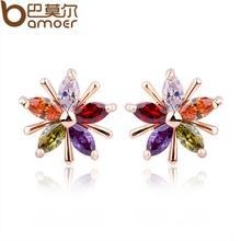 BAMOER Champagne Gold Color Star Stud Earrings with Colorful Zircon Crystal Women Wedding Jewelry JIE011(China (Mainland))