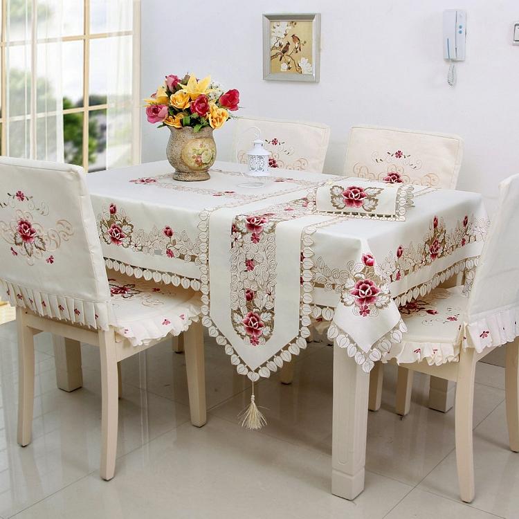 Новый горячий Retangular элегантный полиэстер вышивка скатерть мода атласная цветочные вышитая скатерть белье крышка наложений