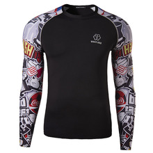 Autumn Man Sport T Shirt Quick Dry Cotton Breathable Patchwork  Graffiti Gym Workout T-shirt Exercise Slim Clothing