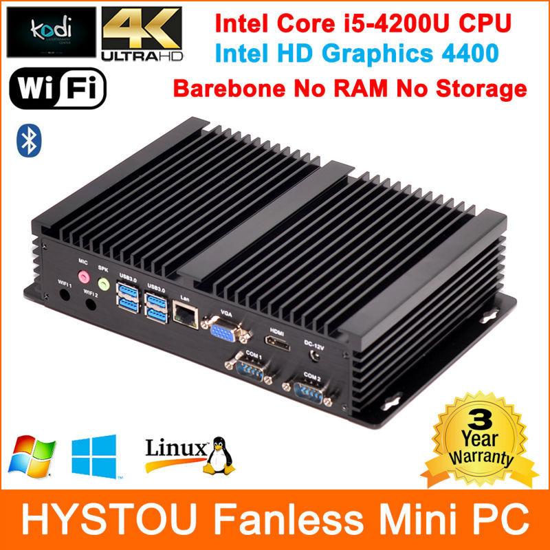 Wifi Barebone Mini PC Intel Core i5-4200U Rugged PC Fanless Industrial computer support 16GB ram 2 storage free shipping by DHL(China (Mainland))
