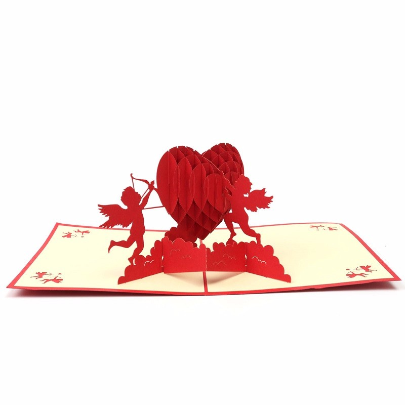 3D Pop Up Greeting Card Paper Carving Cupids and Red Heart For Lover Anniversary Wedding Invitation Cards Valentine Day Gifts(China (Mainland))