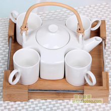 Bamboo pallet white ceramic set tea set teapot cup teaberries