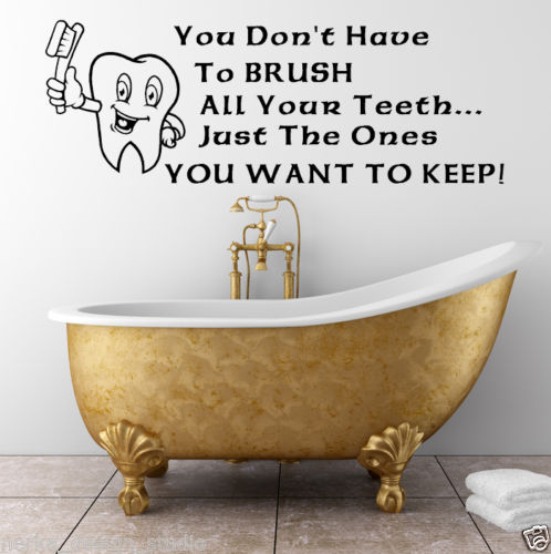 WALL QUOTES Brush your Teeth WALL STICKERS WALL ART DECAL free shipping(China (Mainland))