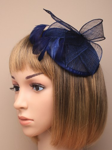 New Style Fashion Sinamay Base Hat Hair Fascinator,Navy Base Fascinator With Feathe For Wedding/Chuch/Races(China (Mainland))
