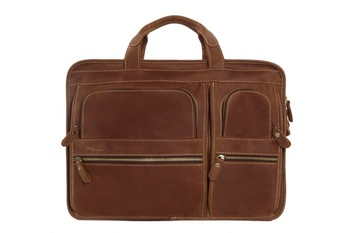 "ROCKCOW Men Genuine Leather Briefcase Messenger Tote Bag Fit 16"" Laptop DZ11"