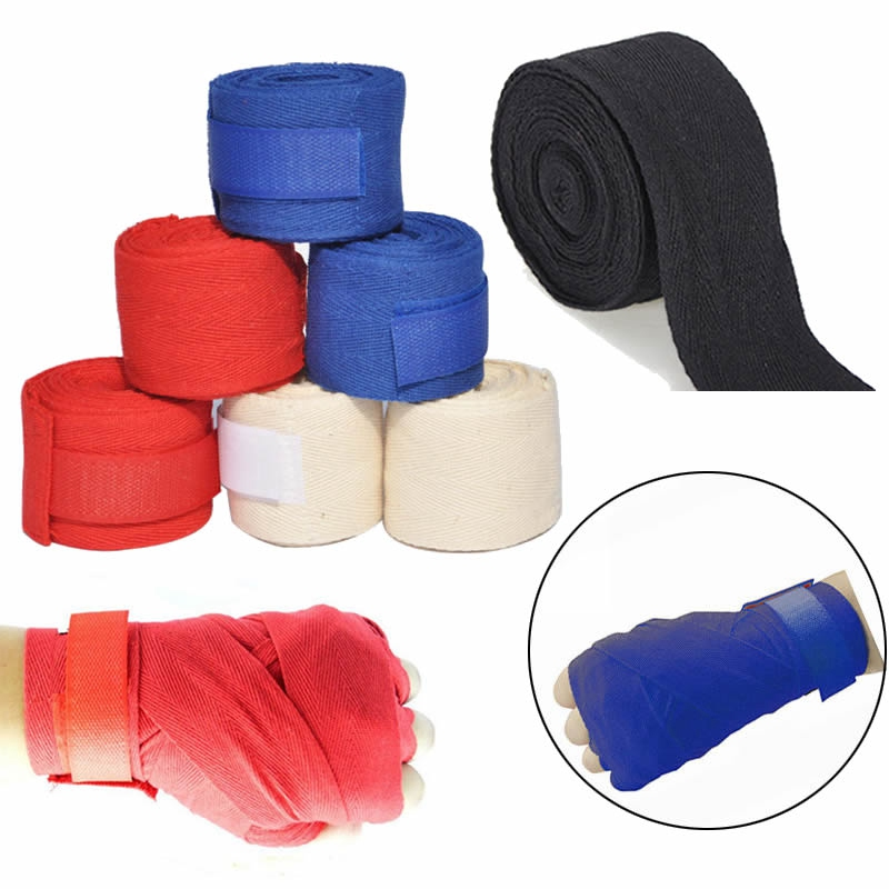 New 1 Pair 2.5m Cotton Hand Wrist Fist Wraps Boxing Handwraps Bandage Training Inner Palm Straps Punch Bag Glove Protective(China (Mainland))