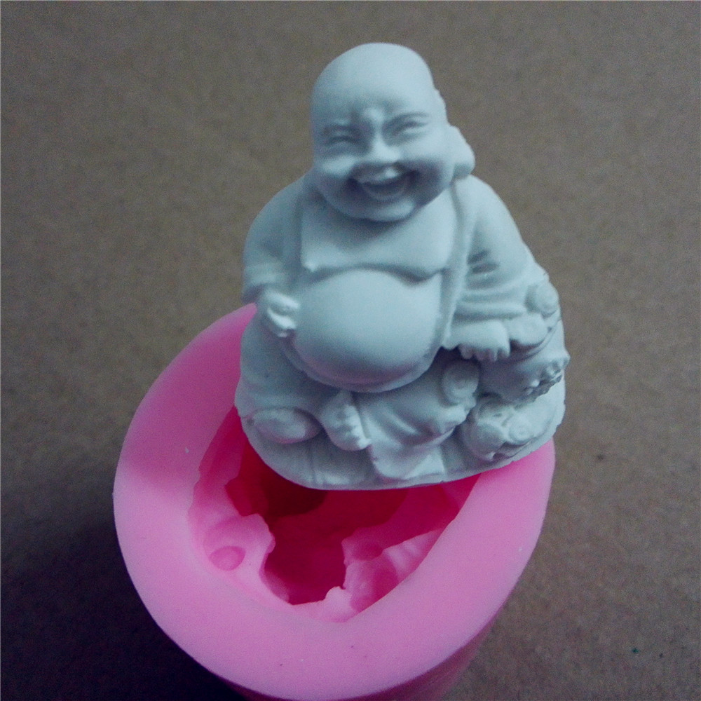 chinese buddha candle mold silicone soap mold 3D silicone molds chocolate mold(China (Mainland))