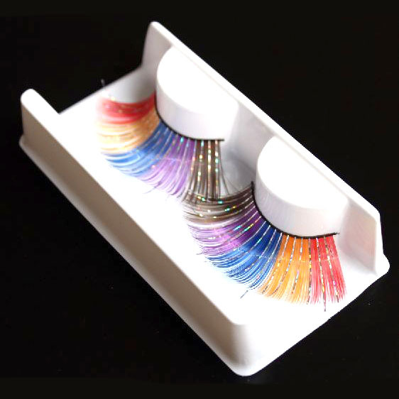 1 pair/pack Rainbow color long eyelashes.Min order 12 items mixed.18.18005.Free shipping(China (Mainland))