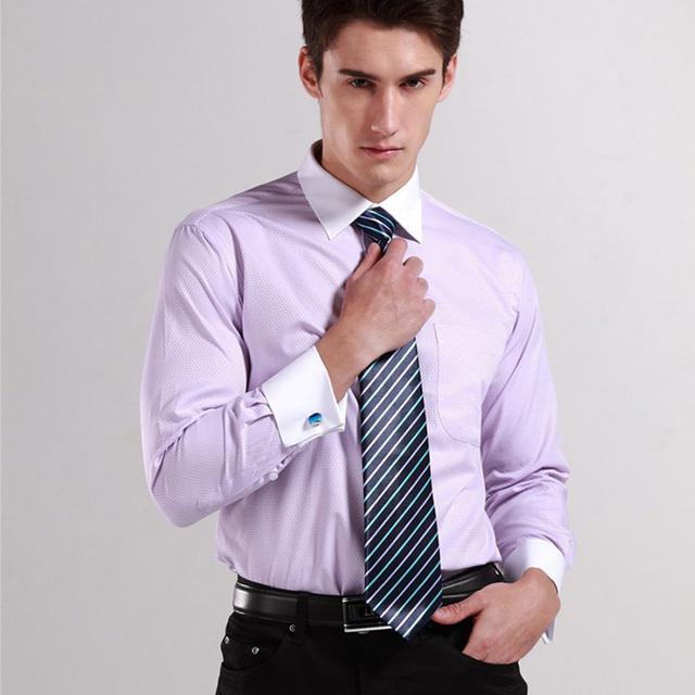 2015 fashion mens cufflink shirts high quality long sleeve for Cufflinks on regular dress shirt
