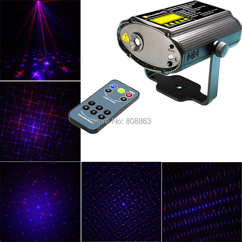 Фотография Mini Red Blue laser 6 patterns Projector Remote Lighting Light Dance Disco Bar DJ Home Party Xmas Effect Stage Lights Show B42