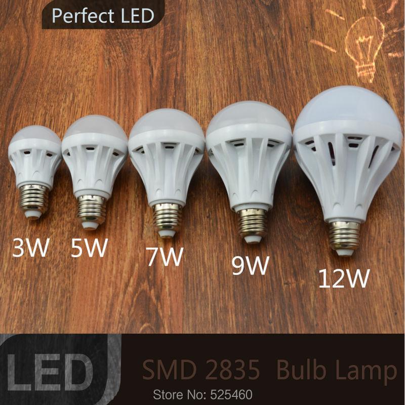 12pcs lot LED bulb lamp E27 3W 5W 7W 9W 12W 2835SMD Cold white warm white High brightness 220V Free shipping home lighting(China (Mainland))