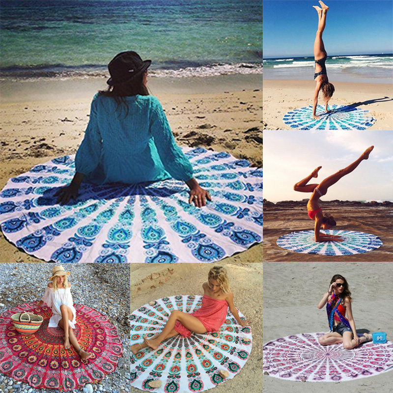 2016 New Indian Boho Round Hippie Tapestry Wall Hanging Tapestries Printed Beach Throw Towel Yoga Mat Blanket Home Decor 143cm