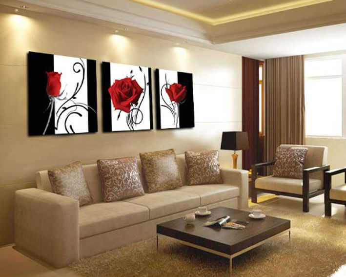 3 panel red rose Home Decorative Canvas Painting Living Room Wall Art Set printed art picture Framed T/427 - Dafen store