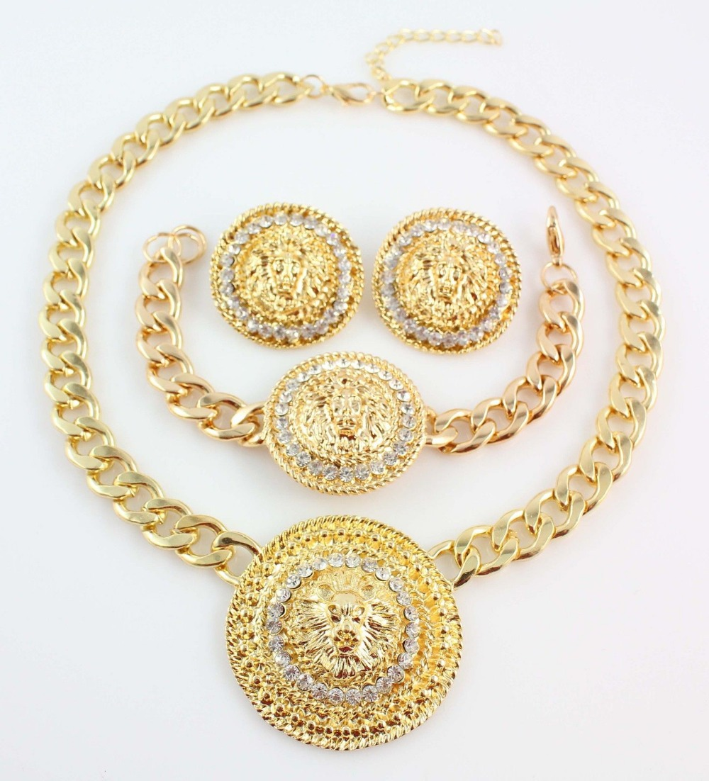 Fashion Lion Head Necklace Bracelet Earrings Set 18K Gold Plated Crystal Jewelry Women - WWS (Min Order $10 store)