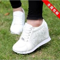 Hot Sales new 2015 Autumn Black White Hidden Wedge Heels Casual shoes Women's Elevator High-heels Sneakers for Women Rhinestone