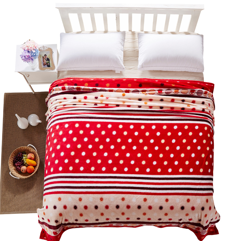 Cozzy Red & Beige Polka Dots and Pinstripes Women's Plush Velvet Fleece Blanket on Bed Sofa Home Textile Single Twin Full Queen(China (Mainland))