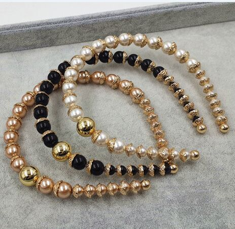 2015 New design brand metal carving beads pearl Headbands catwalk runway pearl alloy pave hairband celebrity hair jewelry(China (Mainland))