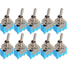 10pc/LOT Blue Mini MTS-102 3-Pin SPDT ON-ON 6A 125VAC Miniature Toggle Switches VE067 P(China (Mainland))