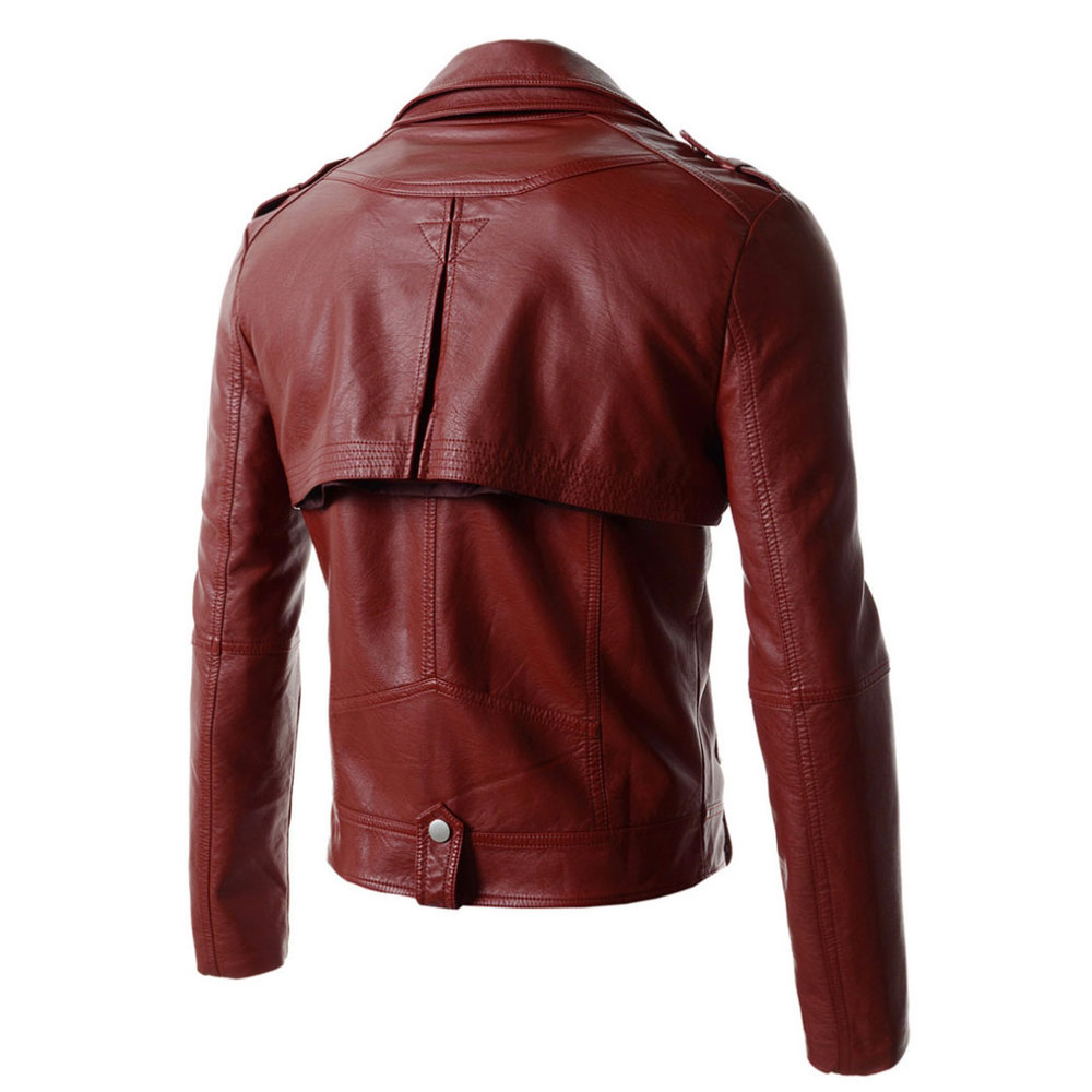 Red Leather Jacket Men 2015 New Black Motorcycle Leather Coat Men Slim Fit Jaqueta Masculinas Inverno