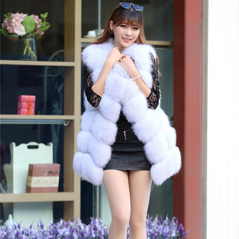 100% Real Genuine Fox Fur Long Vest Gilet Waistcoat Jacket Women Luxury Winter