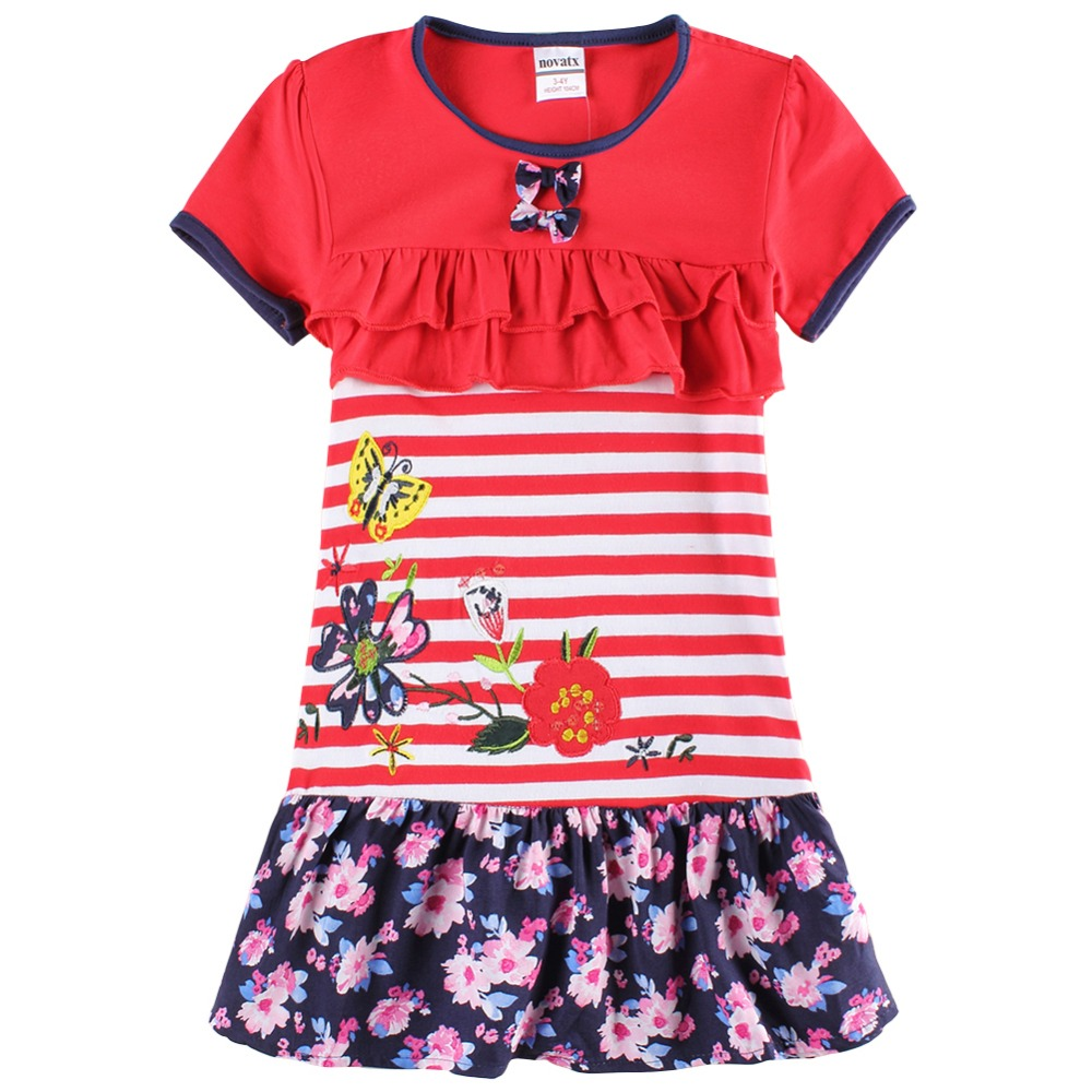 2016 Nova Brand summer children clothes novelty design whith  floral and butterfly embroidery girl nice red bow dress<br><br>Aliexpress