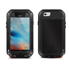 LOVE MEI Original Straight Waterproof Metal Mobile Phone Case for iPhone 6S/Plus 4.7 5.5 inch Gorrila Glass Screen Protectors