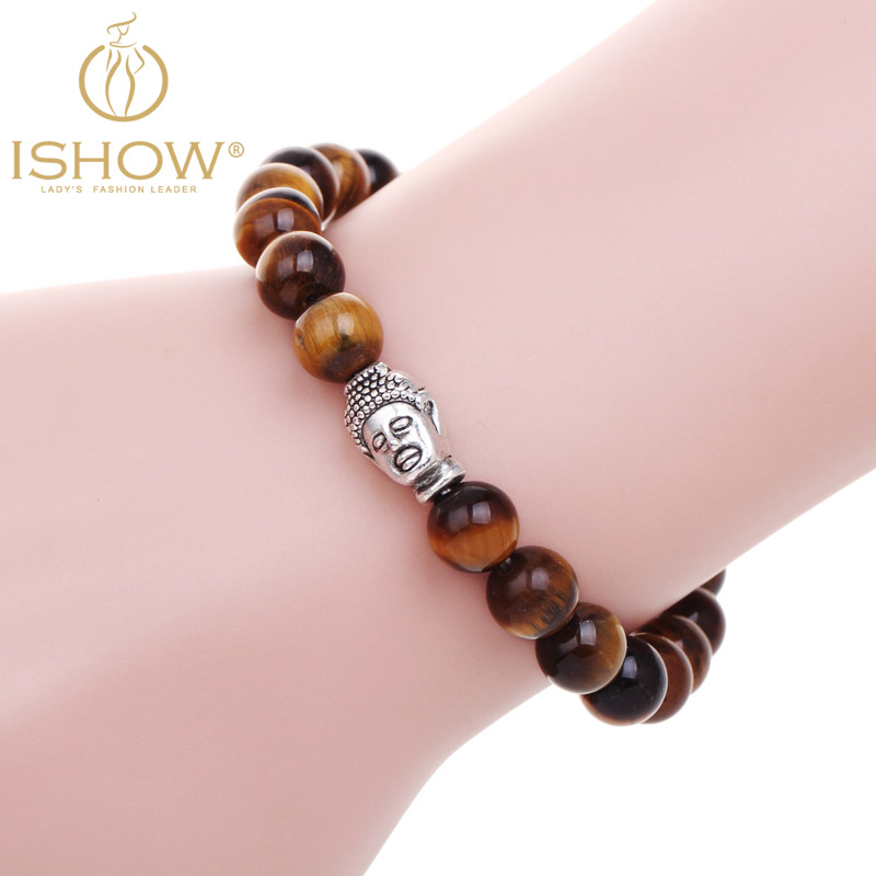 Pulseras mujer tiger eye stone buddha beads bracelet elastic charm bracelet rope chain Natural stone for