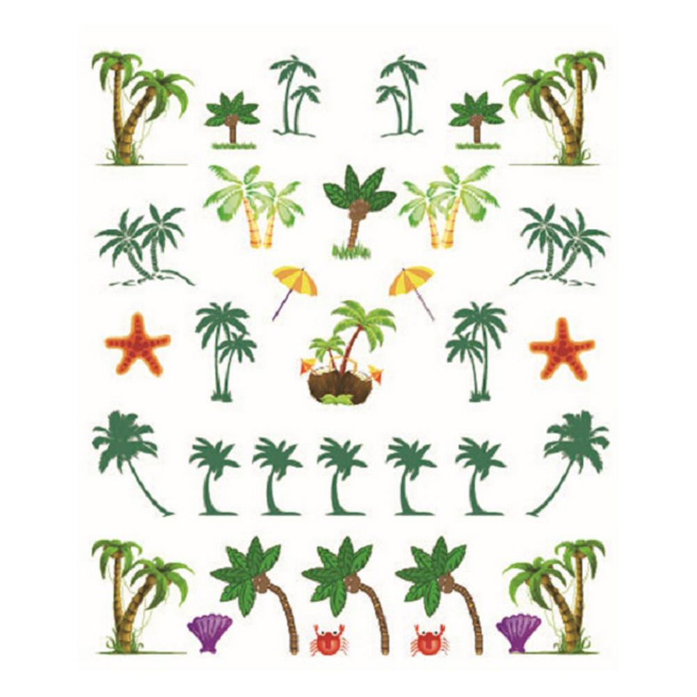1pc DIY Water Transfer Coconut Trees Element Nail Wrap Sticker Nails Art Sticker(China (Mainland))