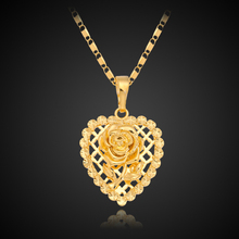 18K Gold Plated Rose Heart Deluxe Trendy Pendant Necklace Chain Luxury Fashion Cute Romantic Women Girl