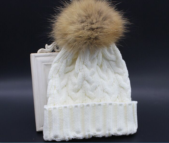 Black Friday Promotions women 100% Real Raccoon Fur pompon winter hats adult beanies crochet wool fur ball knitted hat - 90s Fashion store