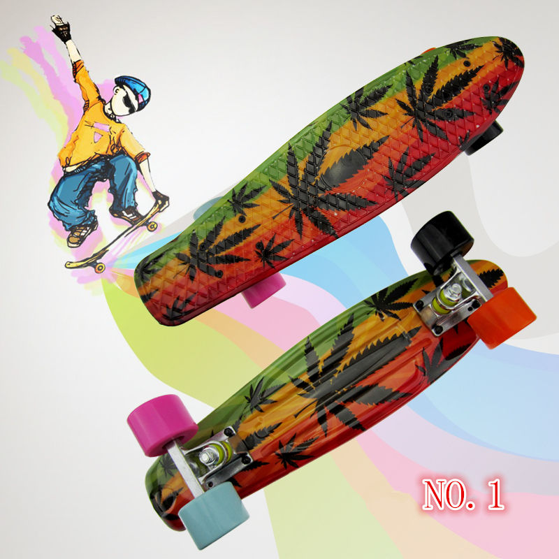 2015 New 22 High Quality Graphic Series Leaf series Mini Cruiser Long Style Floral Skateboard Complete Single Rocker Long Board<br><br>Aliexpress