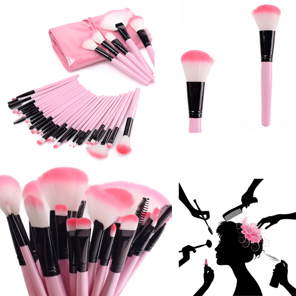 Hot Pink Professional 32Pcs Cosmetic Makeup Make Up Brush Brushes Set Kit Tools Super Soft Pouch Bag Case + 1x Leather Case(China (Mainland))