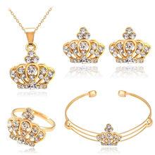 אופנה אישה Jewerly יוקרה מעוקב Zirconia קראון תליון הצהרת שרשרת עגילי חתונה כלה זהב-צבע סטי תכשיטים(China)