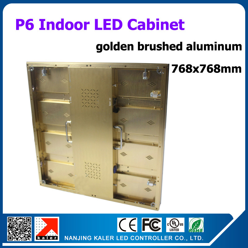 768x768mm indoor led cabinet p6 smd high bright led display board golden brushed aluminum with good heat releasing function(China (Mainland))