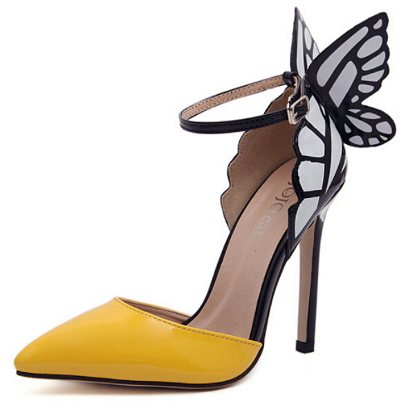 Women shoes wedding high heels Colorful butterfly heeled sandals pumps bow party woman bridal - goodluckeshop store