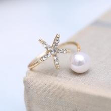 Fashion  jewelry starfish and imitation pearl rings gold ring  women jewlery free shipping