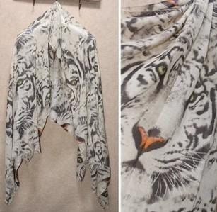 Reserved 2013 summer big tiger head scarf fashion silk scarf cape