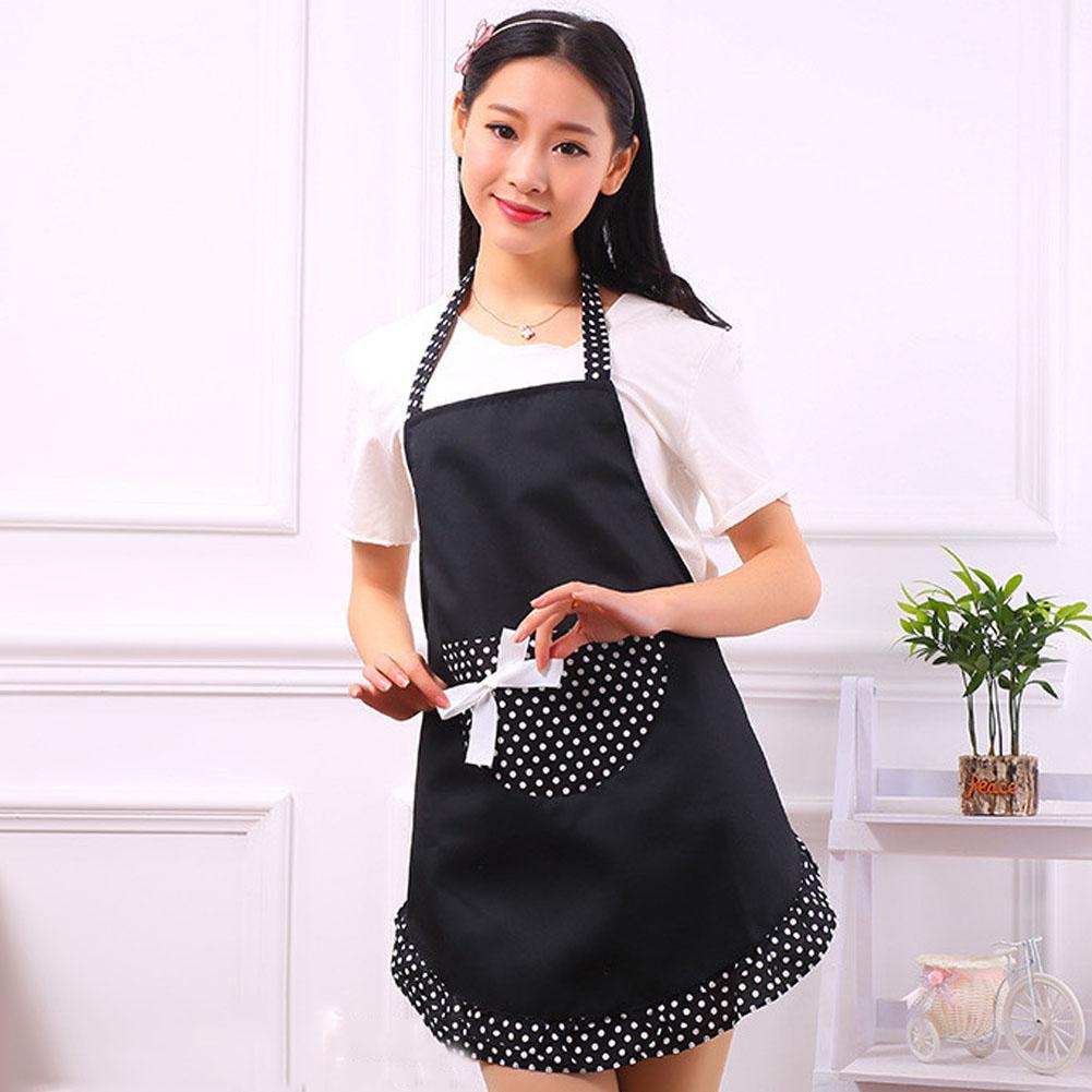 White girly apron - Adjustable Cute Vintage Bow Knot 2colors Red Black 1977 Dot White Background Women Kitchen Restaurant Bib