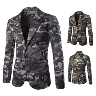 High Quality 2015 New Arrival Military Style Camouflage Suit Men'S Cotton Slim A Button Suits Blazer Men Hot M34(China (Mainland))
