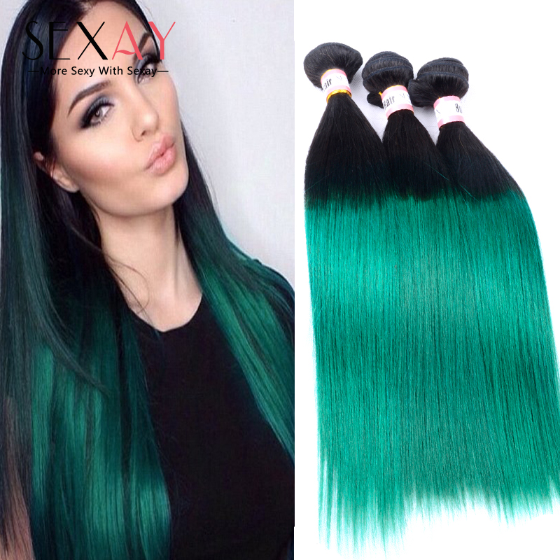 1B/Green Ombre Hair Extensions 7A Ombre Peruvian Human Hair Weave Bundles 3Pcs 1B/Teal Ombre Two Tone Virgin Straight Wavy Hair<br><br>Aliexpress