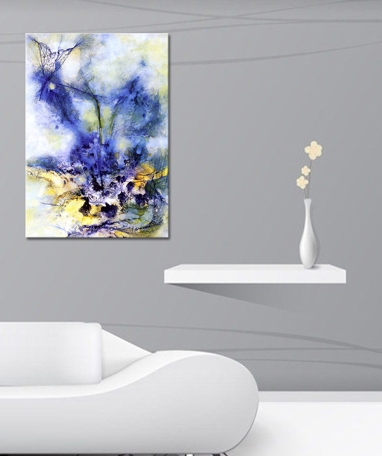 Abstract color art canvas prints painting wall art picture modern home decorations yellow blue